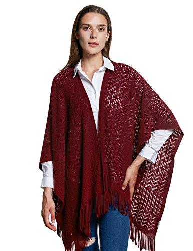 icken Stola Große Größen Warm Weich Poncho Shawl Cardigan Kimono(One Size,Rot) ()