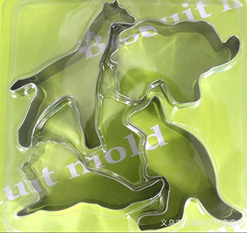 nanhua-Animal Series Edelstahl-Cookie Cutter Set Biscuit cutter-elephant, Löwe, Känguru, Giraffe Känguru Serie