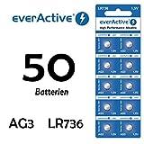 NEMT 50 X Everactive AG3 - LR41 - LR736 - L736 - S736 Knopfzelle Uhrenbatterie 1,5 V