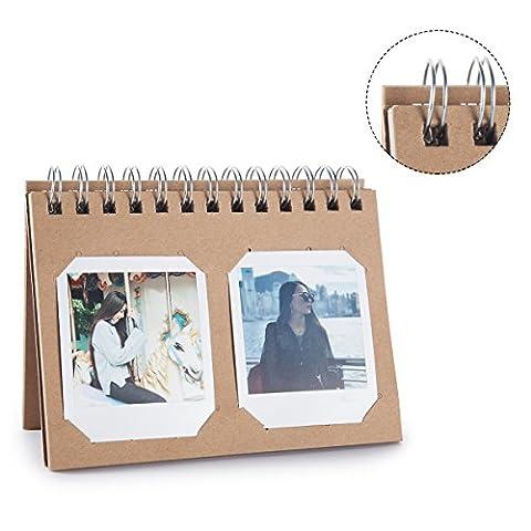[Fujifilm Instax Mini Foto Album] Woodmin 40 Taschen Fotos Album für Instax Mini 70 7s 8 9 25 50s 90, SQUARE SQ10 Film (Braun)