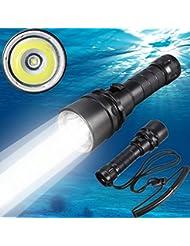 Grandorient del Cree XM-L2 Led buceo linterna antorcha Submarino Submarino 100M ligera impermeable de la batería recargable y cargador incluido