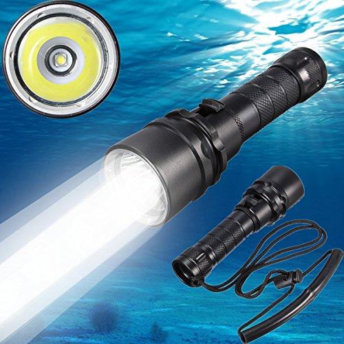 Unterwasser-Taschenlampe, Cree XM-L2 LED, für Taucher, 100m wasserdicht, mit wiederaufladbarem Akku