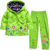 ALLLHMKS Green Flower Raincoat Girl Cute Windproof Rain Jacket Girl Suit Raincoat Green Wear-resistant Raincoat (color : Green, Size : 120CM)