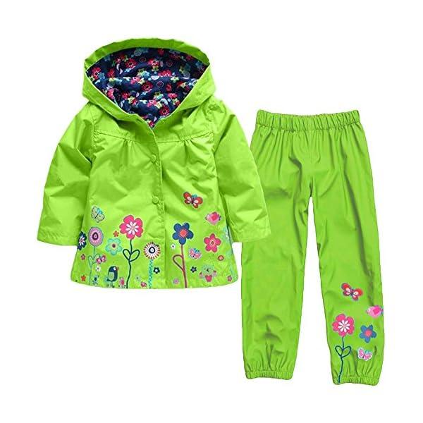 YBWEN Impermeable de los niños Viento Lindo y Lluvia Chaqueta Femenina Verde niña de Las Flores del Impermeable Traje… 1