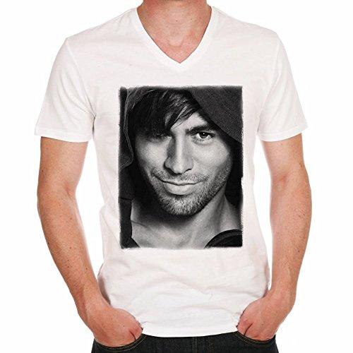 Enrique Iglesias H Herren T-shirt, Prominenter foto - Weiß, XXXL, t shirt herren,Geschenk
