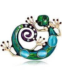 eb206fd1fb8b TOOGOO Esmalte Lagarto broches para Mujer Moda Verde Rhinestone Broche  alfiler Gecko joyeria Animal
