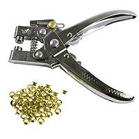 Lochzangenset Ösenzange mit 100 Ösen von Kurtzy - Metallösen Druckknopf Stud Ring Schneider Zange Werkzeug – ideales Werkzeug für Leder, Stoff, Gürtel, Kleidung, dekorative Reparatur