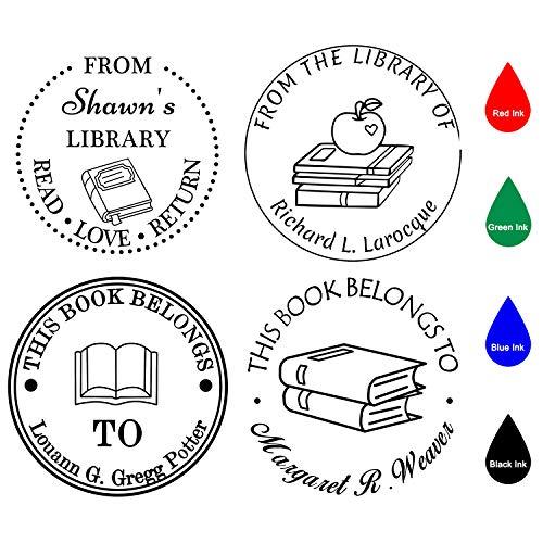Sellos Personalizados,Sellos Personalizable,Diámetro 40 mm,Libro redondo/aula/biblioteca/sello del maestro