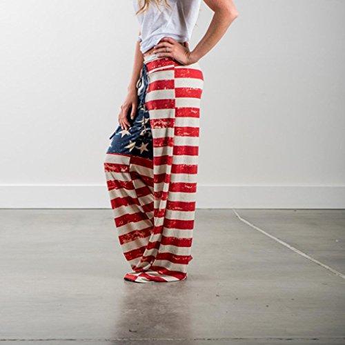 Reasoncool La signora retrò sciolti, pantaloni casual della bandiera nazionale Multicolore