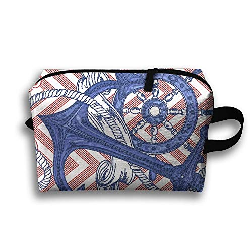 Nautical Anchor Ship Wheel Portable Travel Makeup Bag,Storage Bag Portable Ladies Travel Square Cosmetic Bag