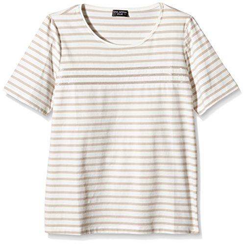 Via Appia Due Geringeltes Kurzarm mit Rundhals Und Pailletten, T-Shirt Donna Sand/Ecru 770950