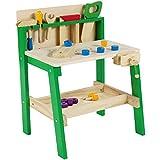 Leo & Emma - Spielwerkbank aus Holz Grün, 30tlg Werkbank für Kleine Kinder aus Holz - Hochwertig hergestellt und lackiert