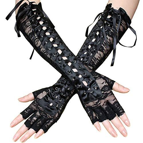 Womens Fingerless Handschuhe Ellenbogen Lace Up Steampunk Kostüm Netz Mesh Fingerless Handschuhe - (1 Paare) (Paare Kostüm Einzigartig)