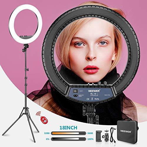 Neewer RL 18II Zweifarbiges 18 Zoll LED Ringlicht mit Ständer 55W Dimmbares Licht mit max. 61,8 Zoll Ständer und Tragetasche für Live Stream Make-Up...
