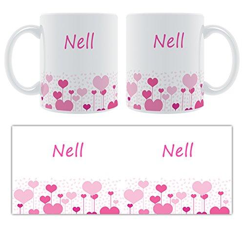 Nell – Motif cœurs – Femelle Nom personnalisable Mug en céramique