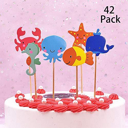 TOPHOPE 42 Stück süßer Meerestiere/Meerestiere-Themed Tier Kuchendeckel Topper für Kinder Baby Party Geburtstag Party Kuchen Dekoration Supplies