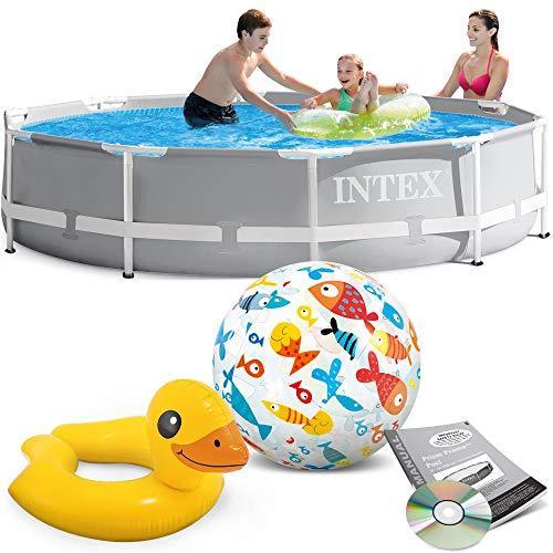 Intex 305x76 cm Prism Metal Frame Swimming Pool Schwimmbecken 26700 mit Extra-Zubehör wie: Schwimmreifen und Strandball
