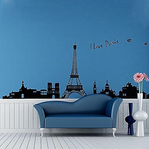 Bâtiments célèbres Statue de la Liberté Tour Eiffel, Salle de Séjour Chambre à Coucher Autocollants Amovibles (Paris