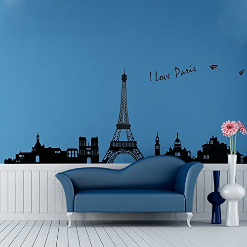 World Famous Europe Architecture París Torre Eiffel Eliminar pegatina de pared Decal para Dormitorio Sala de estar (Pairs Black)