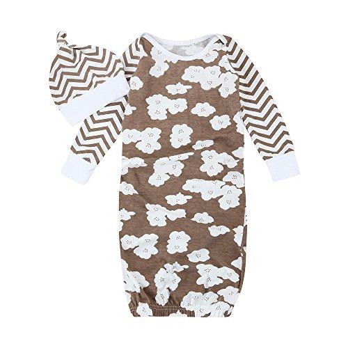 QUICKLYLY Recién Pijamas Infantil Bebé Flor Mameluco + Sombrero Trajes Ropa Conjunto (M(12 Mes), Caqui)