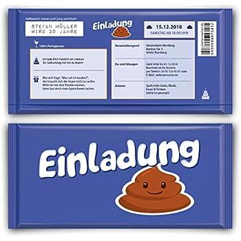 Einladungskarten zum geburtstag 50 st ck lila schokolade for Amazon einladungskarten
