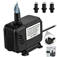 Mr Quality Submersible Water Pumps-2500L/H Lift 2.5m Amphibious Aquarium Water Pump with 1.4M Power Cord and 3 Nozzles 35W