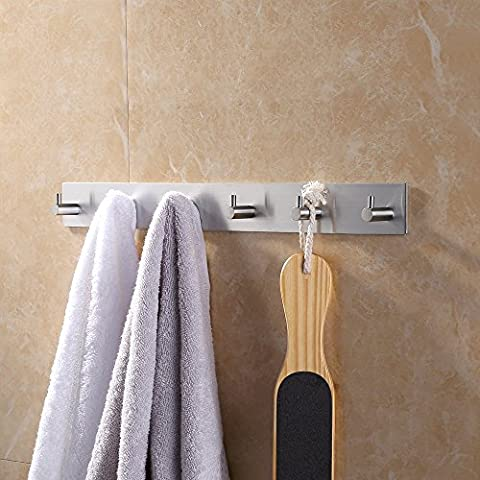 KES Bathroom Self Adhesive Coat and Robe Hook Rack/Rail with 6 Hooks Brushed Finish, SUS304 Stainless Steel, A7060H6
