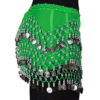HOTER&reg Chiffon Dangling Silver Coins Belly Dance Hip Scarf, Vogue Style, Green