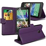 Fone-Case ( Purple ) HTC Desire 320 Hülle Abdeckung Cover Case schutzhülle Tasche Brand New Luxury Book PU-Leder-Mappen-Schlag-mit Kredit- / Debitkartensteckplatz-Kasten-Haut-Abdeckung mit LCD-Display Schutzfolie, Poliertuch und Mini-versenkbaren Stift
