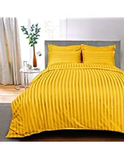 AVI 300 TC Sateen Stripes 100% Cotton Bed Sheet with 2 Pillow Cover, Golden (90 * 108in)