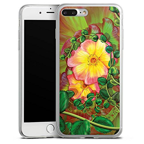 Apple iPhone 8 Slim Case Silikon Hülle Schutzhülle Blume Blüten Efeu Silikon Slim Case transparent
