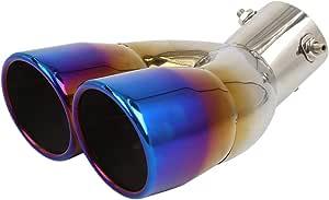 X Autohaux Auto Edelstahl Schall Auspuff Schalldämpfer Endrohr Doppelte Spitze Auspuffrohr Einlass 63mm Auslass 152mm Auto