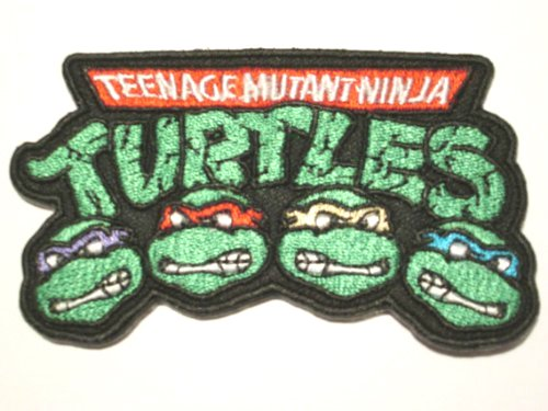 Turtles Splinter Ninja Teenage Mutant Kostüm (TMNT Logo Patch Aufnäher Aufbügler Abzeichen 9 cm Teenage Mutant Ninja Turtles Kostüm Aufnäher Retro Cartoon Collectible Souvenir)