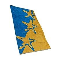 L'asciugamano da spiaggia Starfish / telo mare di Outdoorer sprigiona con i suoi colori vivaci tutto il fascino della vacanza. Il blu e giallo, unitamente ai disegni delle stelle marine, si adattano perfettamente ad una bella spiaggia di sabb...