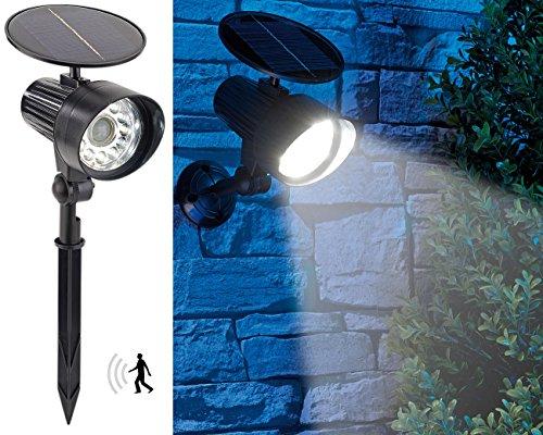 Royal Gardineer PIR-Solarstrahler LED: 2in1-Solar-LED-Wand- und Wegeleuchte mit Licht-Sensor und PIR-Sensor, (Solar Lampe mit Bewegungsmelder)