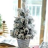 XIAOMEI Mini accorrevano Albero di Pino di Natale Neve Desktop Nevoso Artificiale PVC Festa a casa Natale Ornamenti(Verde)-B 50cm(20inch)