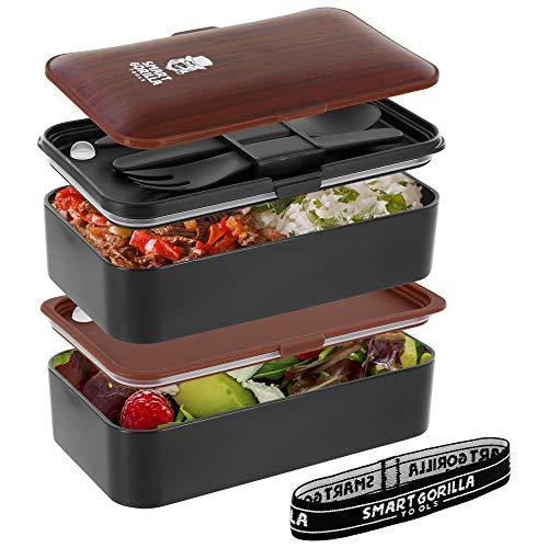 Smart Gorilla Tools Premium Bento Box - Dein Essen immer dabei haben - Lunchbox mit zwei Behältern - Brotdose für Schule und Arbeit - mikrowellengeeignet - inkl. Besteck und Unterteilungen Bento Essen
