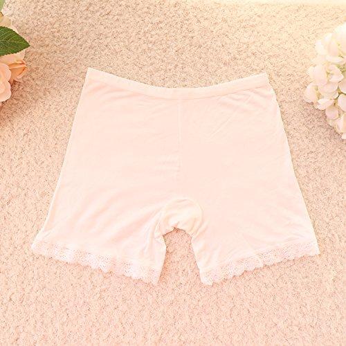 Unterhosen Unterwäsche Bambusfaser Damen Spitzen Leggings Hose Slip, Weiß 506 Greatlpk White 560
