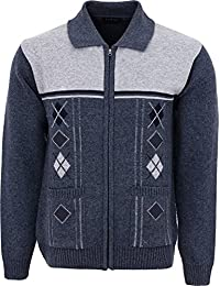 8f280aef47cc8e Mens Knitted Cardigan Chunky Knit with Full Zip Front Closure Collared Neck  Front Pockets
