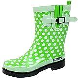 BOCKSTIEGEL DORIN Damen - Modische Gummistiefel | 36-42 Rubber Boots | Regenstiefel | Polka Dots | Gepunktet, Größe:36 / UK 3.5, Farbe:Hell Grün