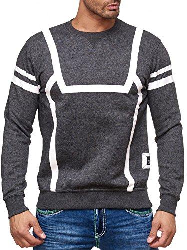 Herren Pullover Sweat Sweatshirt Rundhals Streifen Rot Blau Schwarz Grau 19045v2 Anthrazit