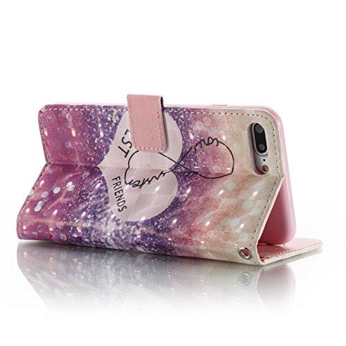iPhone 7 Plus Leder Hülle,iPhone 7 Plus Book Case,TOYYM Folio PU Leder Wallet Tasche Case mit Standfunktion Karteneinschub und Magnetverschluß,Notebook Flip Cover Brieftasche Handytasche Innere Bumper Best Friend
