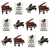 AKGifts Lot de 12 décorations comestibles pour cupcakes Thème « Keep Calm and Play Piano »