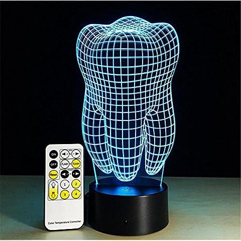 Denti Desk Lamp 3d 7 colori cambiano tocco passare Tabella telecomando luce principale di notte di illuminazione della decorazione della casa Accessori Casalinghi