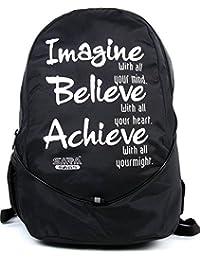 SARA Polyester 25 Liters Black School Backpack