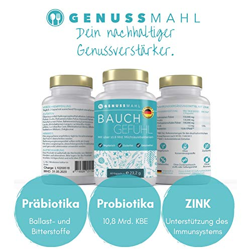 GENUSSMAHL Probiotika – Kulturen-Komplex für Darmsanierung – 10,8 Mrd kbE mit Lactobacillus, Bifidobacterium + Zink, Inulin für eine gesunde Darmflora – Hochdosiert, ohne