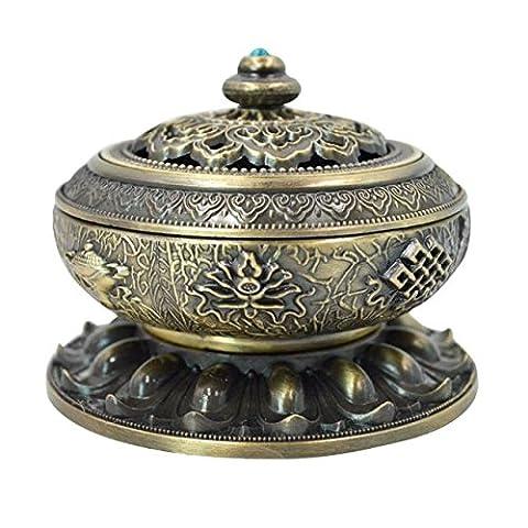 ABBY Les instruments utilisés dans le culte de l'encens encensoir Bouddha encensoir maison avec des ornements en alliage anciens fournitures bouddhistes vert bronze