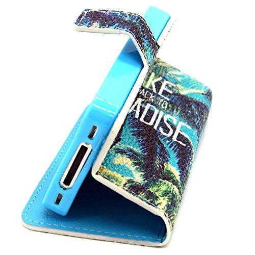 MOONCASE iPhone 4S Coque Portefeuille [Porte-cartes] Modèle Case Housse en Cuir Etui à rabat avec Béquille pour iPhone 4 / 4S -YX05 YX06