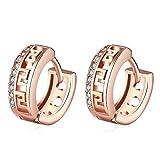 Aeici Oro Giallo Gioielli Per Le Donne Il Modello Della Grande Muraglia Orecchini Circolari Oro Rosa Dimensione:15x6MM