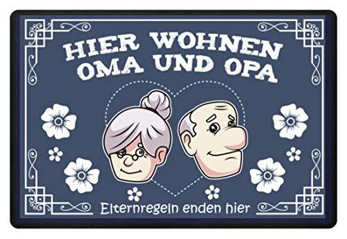 Hier wohnen Oma und Opa, Eltern Regeln enden hier Großeltern Geschenk Schutzmatte, 40x60 cm - Fußmatte -60x40cm-Dunkel-Blau (College Party Kostüm Für Jungs)